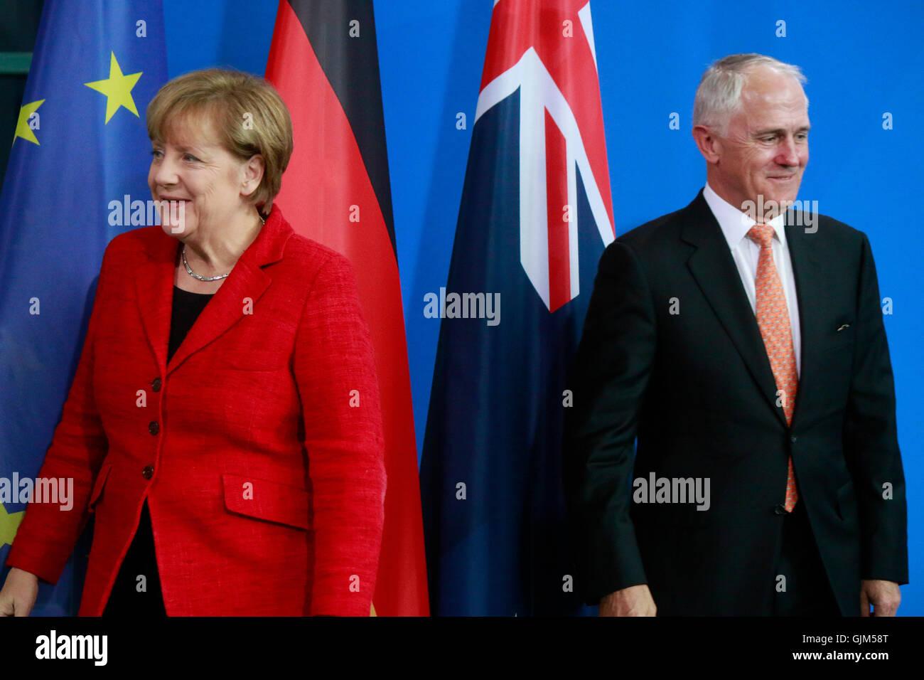 BKin Angela Merkel, Malcolm Turnbull - Treffen der dt. Bundeskanzlerin mit dem australischen Ministerpraesidenten, - Stock Image