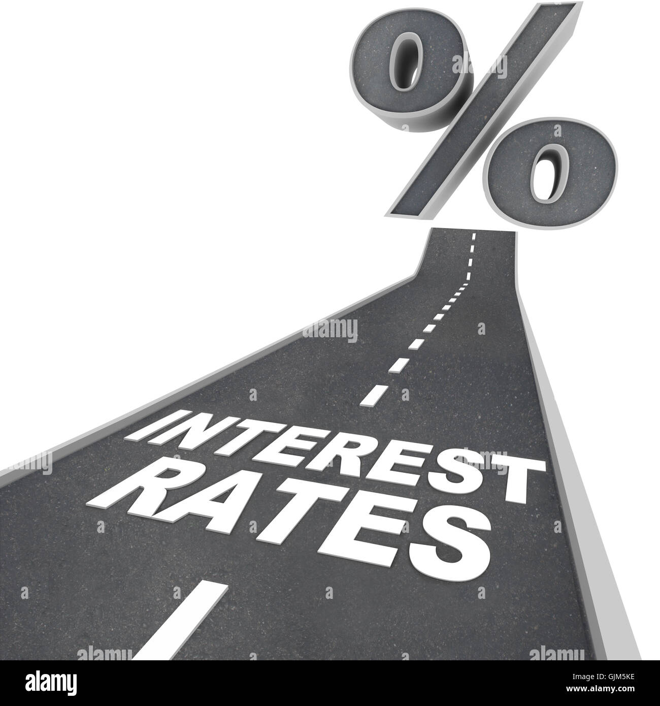 Road to Higher Interest Rates - Words on Street - Stock Image
