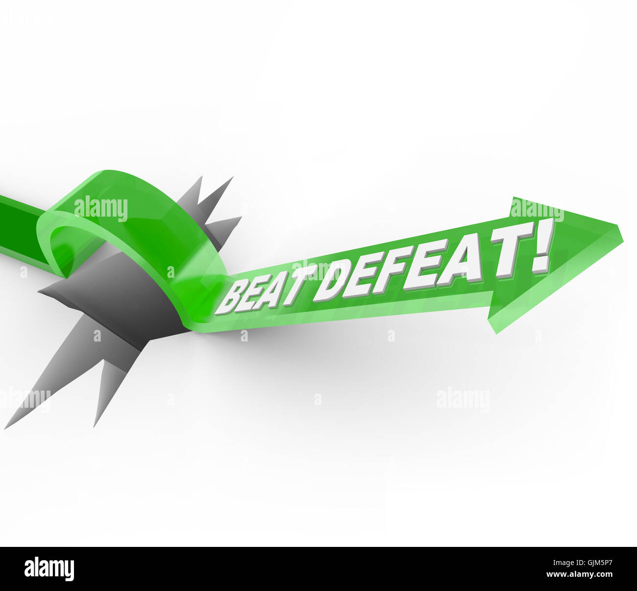 Beat Defeat - Arrow Jumping Over Hole to Overcome Adversity - Stock Image