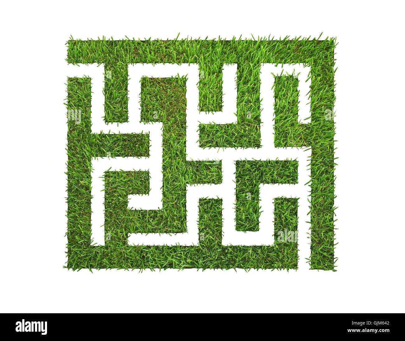 green grass maze, isolated on white - Stock Image