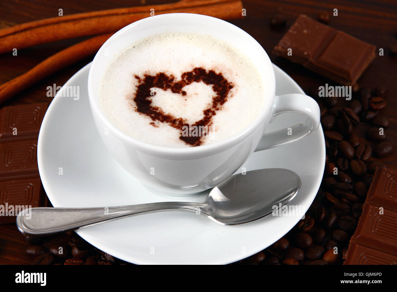 semiluxury food coffee with milk cappuccino - Stock Image