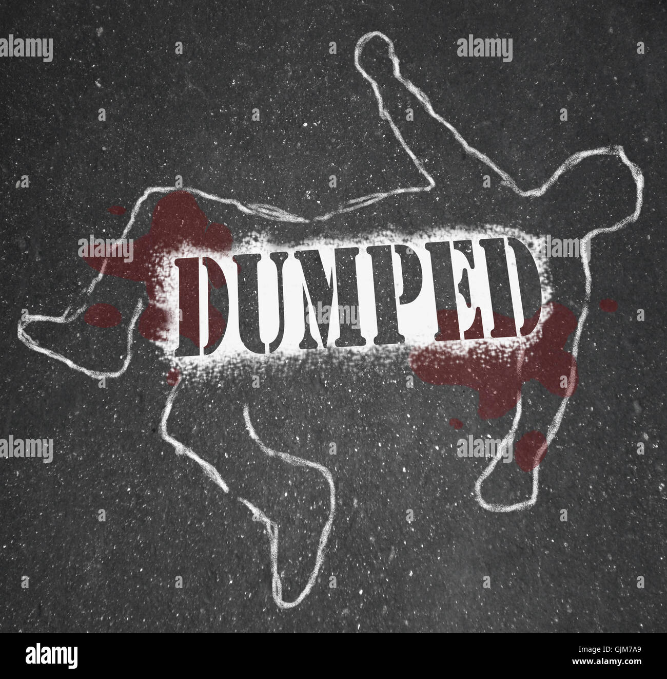 Dumped - Chalk Outline of Ex-Worker or Ex-Lover Break-Up - Stock Image