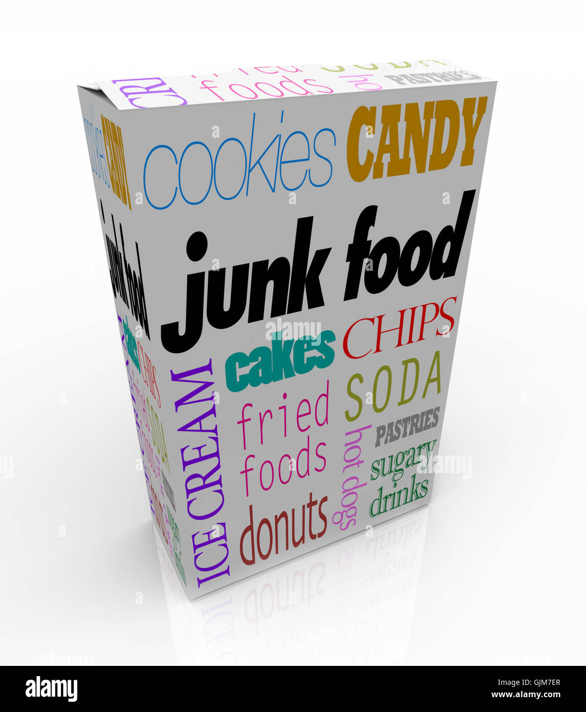 Junk Food Box - Bad Nutritional Choices for Your Diet - Stock Image