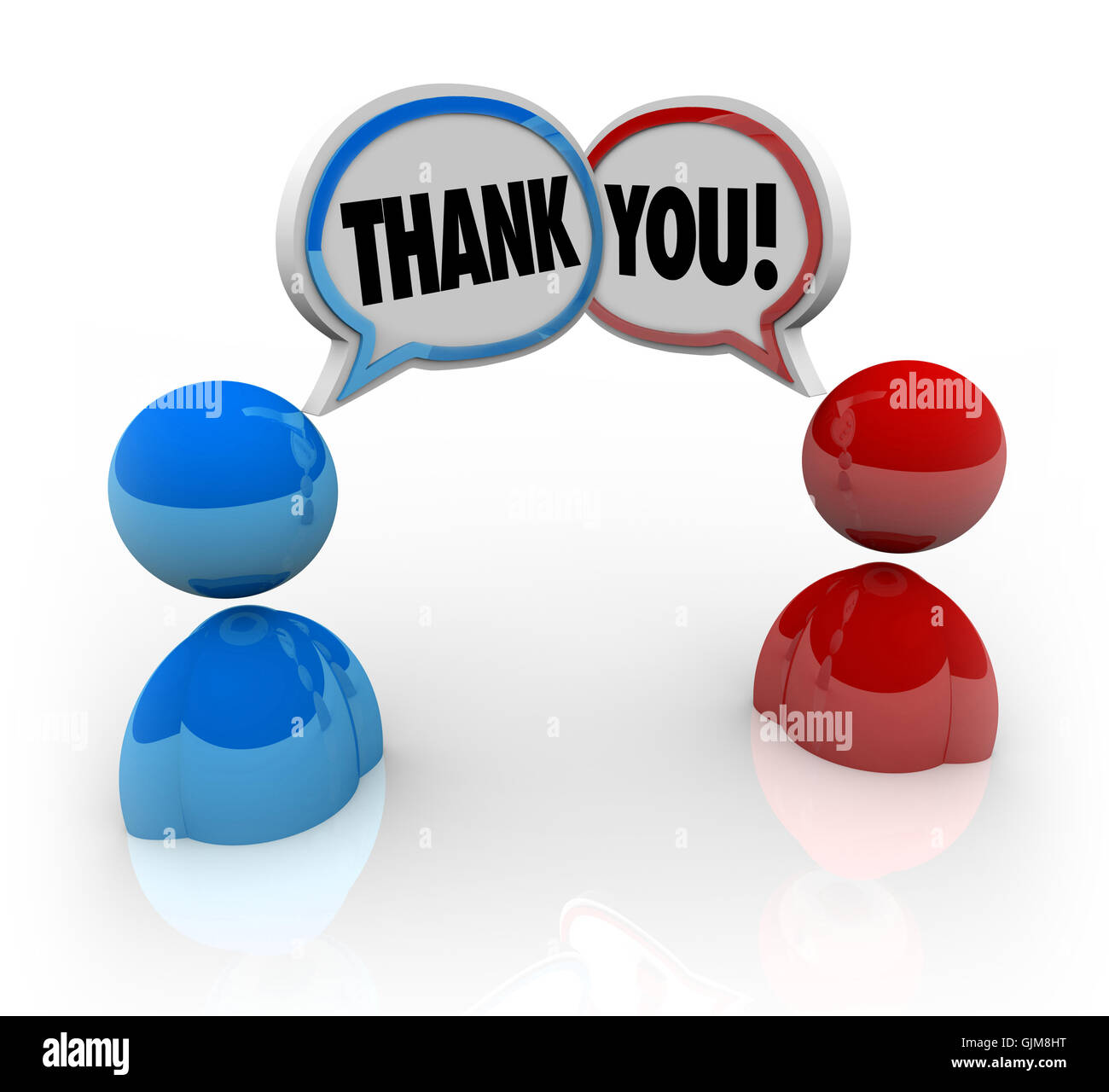Thank You - Two People Voicing Appreciation - Stock Image