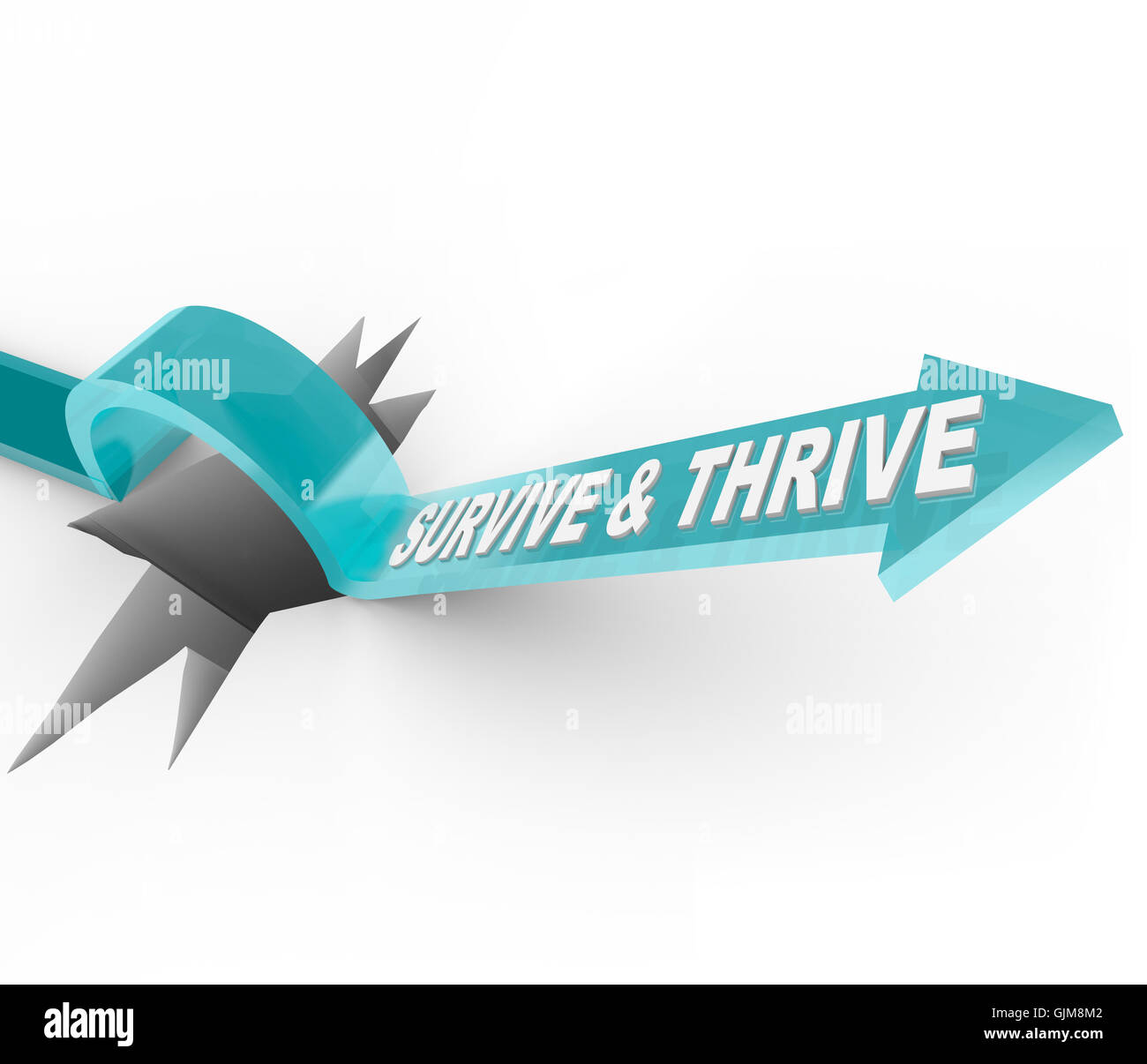 Survive and Thrive - Arrow Jumps Over Hole - Stock Image