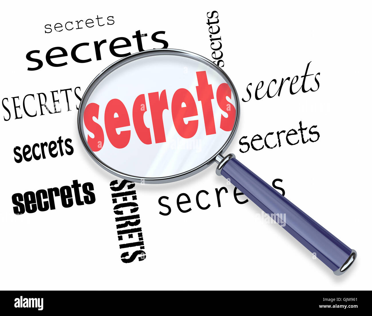 Searching for Secrets - Magnifying Glass Finds Clues - Stock Image