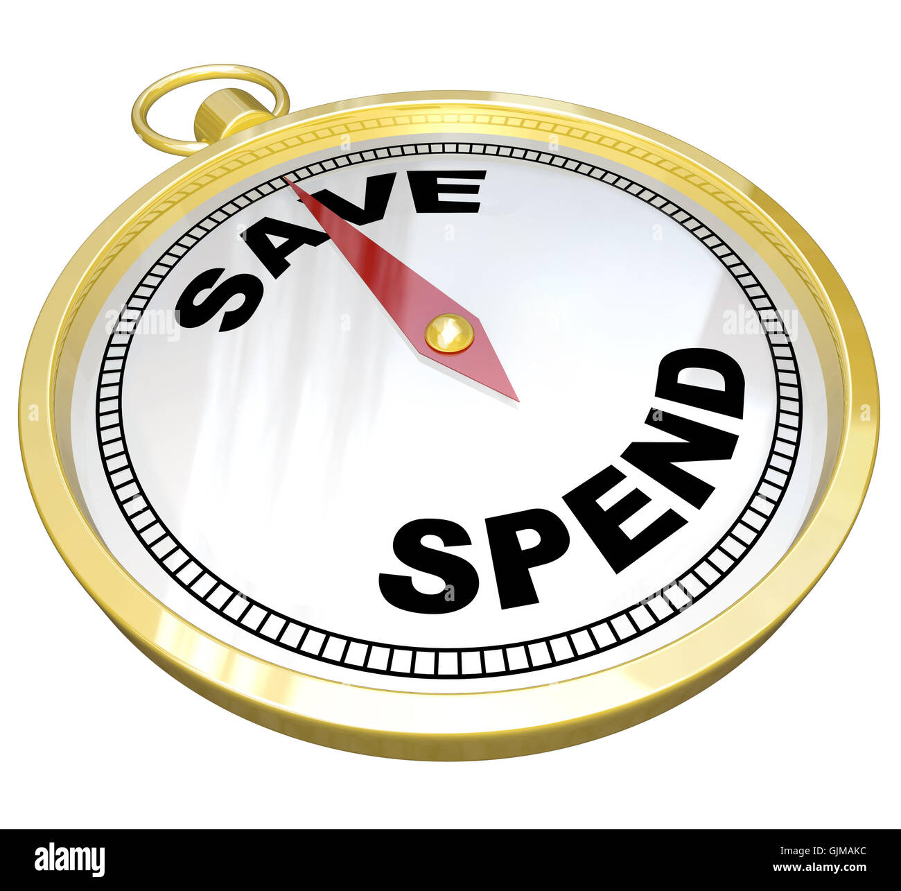 Compass - Leading the Way to Saving vs Spending - Stock Image