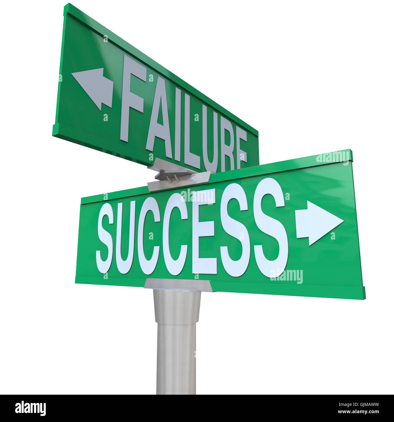 Decision at Turning Point of Success vs Failure - Two-Way Street - Stock Image