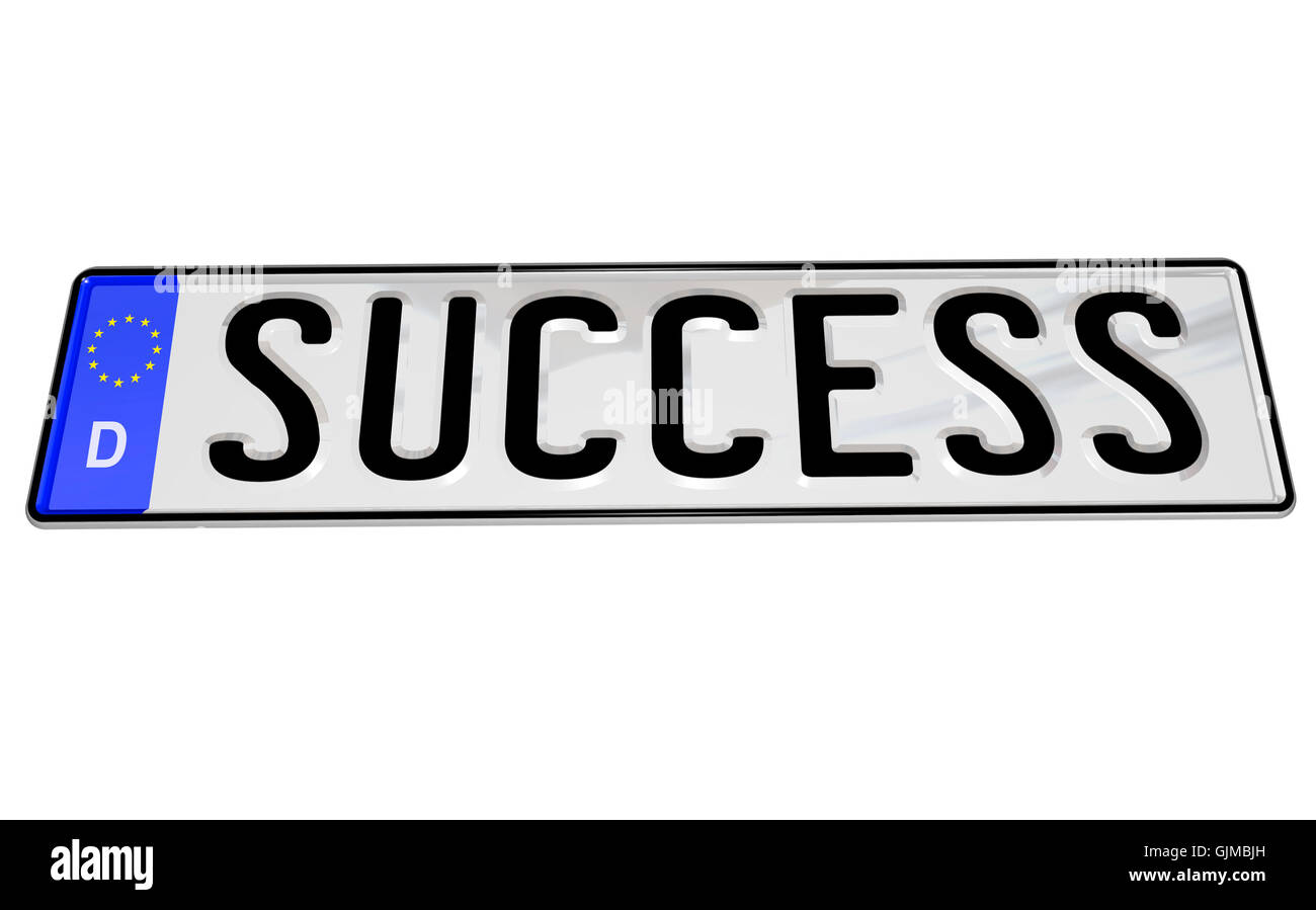 Success Word on German License Plate for Car - Stock Image