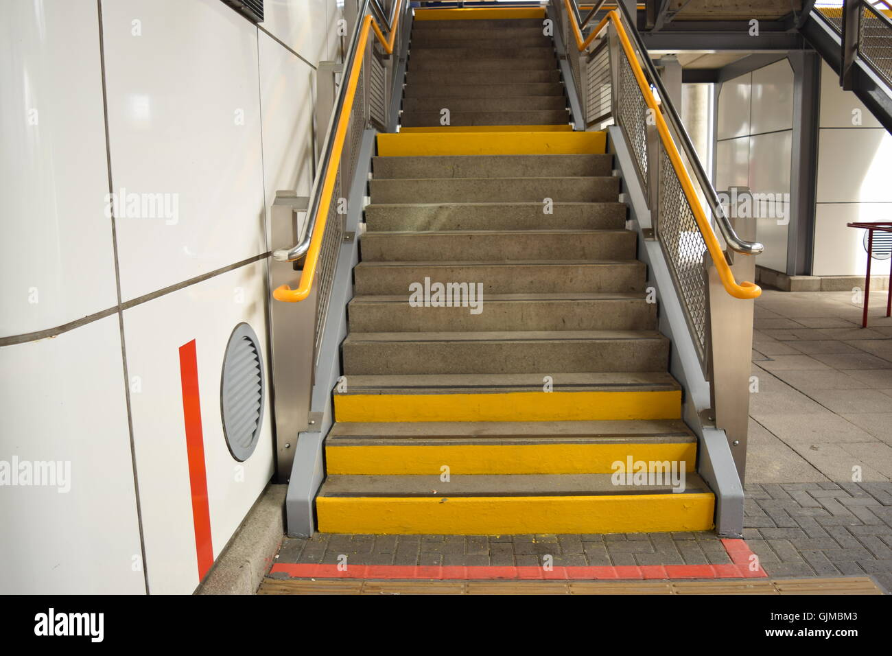 Flight of Stairs at an Overground Station - Stock Image