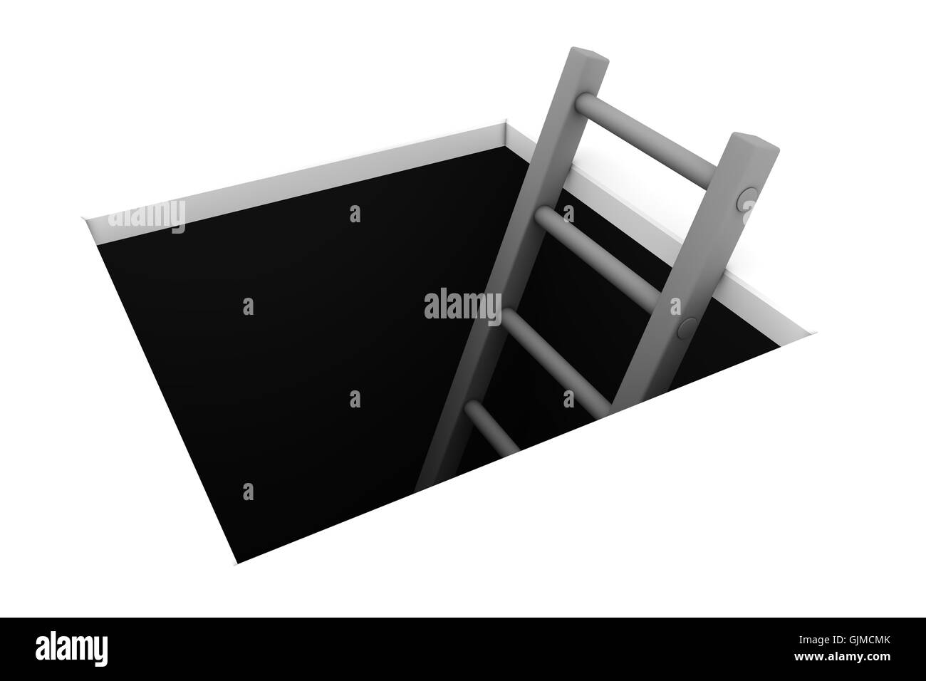 Climb out of the Hole - Grey Ladder - Stock Image