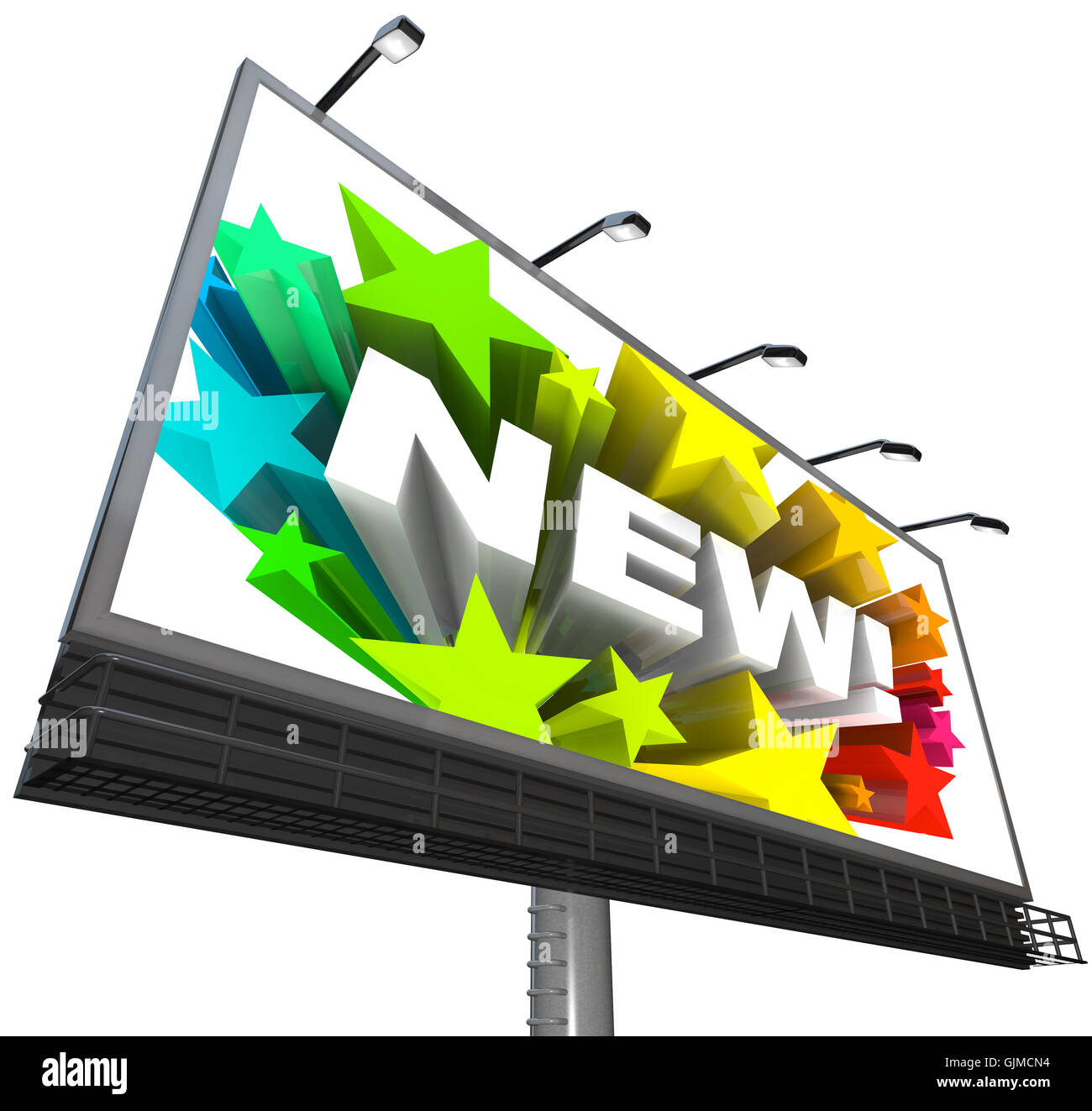 New Word and Fireworks on Billboard Announcement of Product Stock Photo