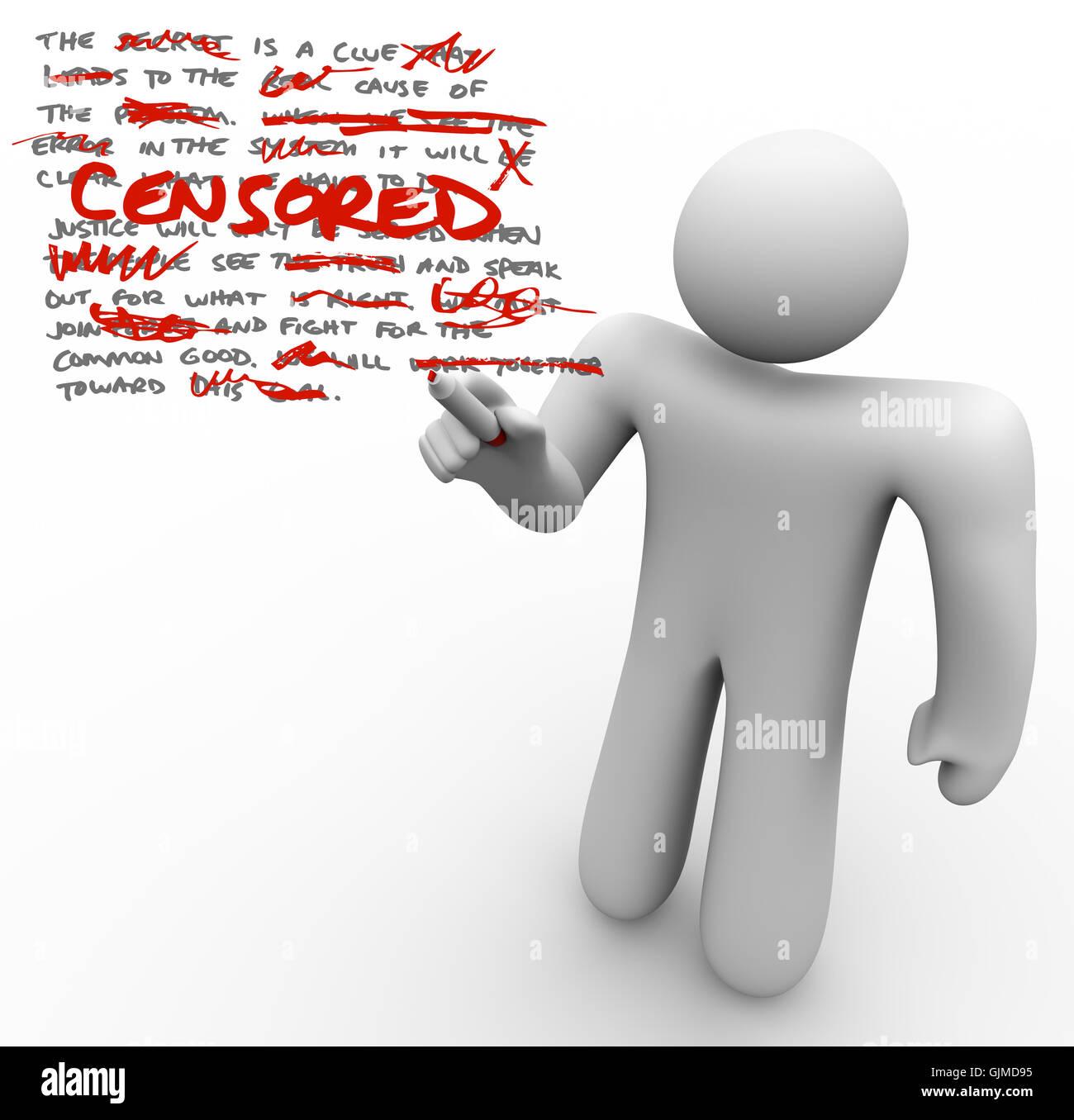 Censored - Man Edits Text Censoring Freedom of Speech - Stock Image