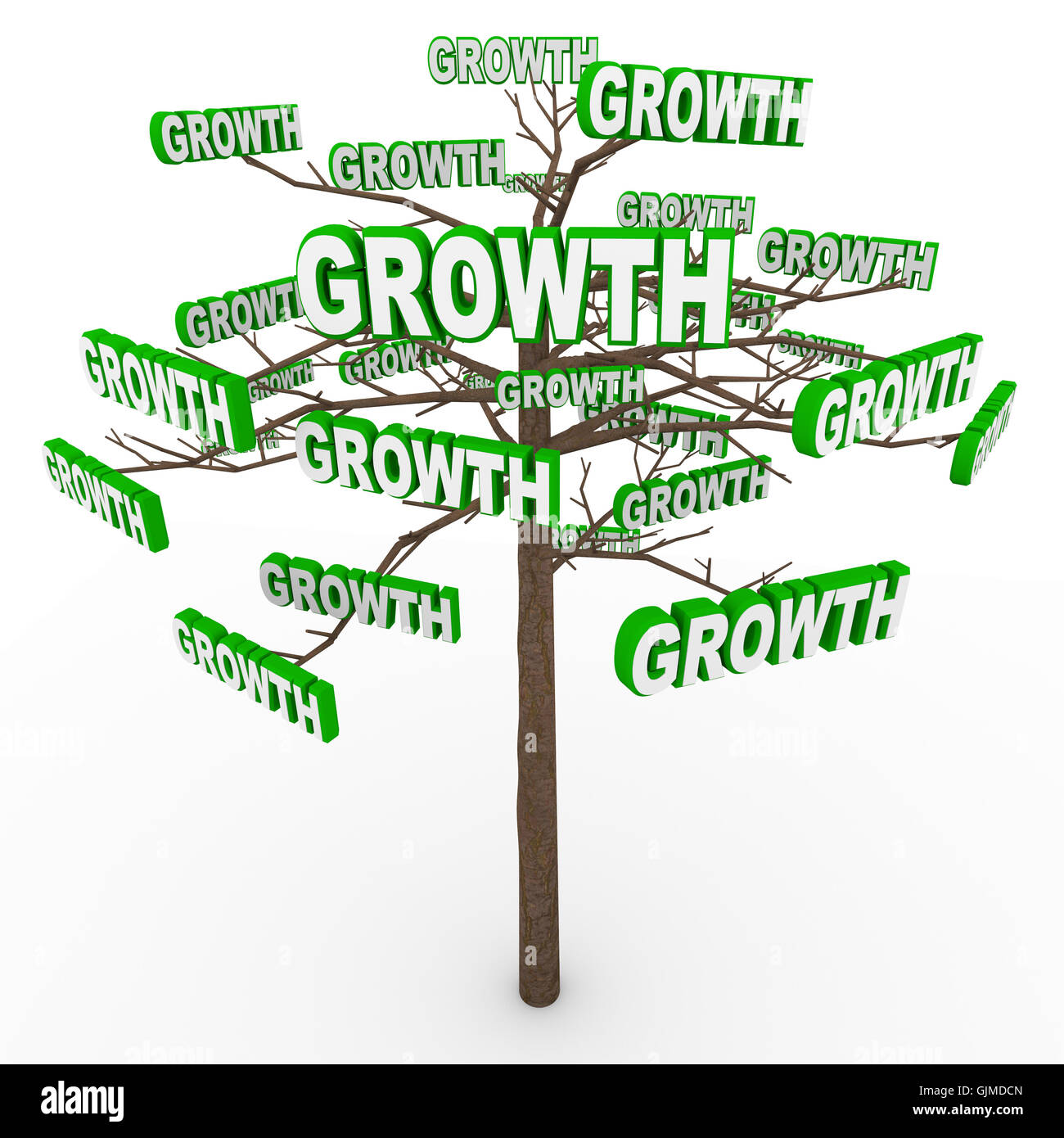 Growth Tree - Words on Branches Symbolize Organic Growing - Stock Image