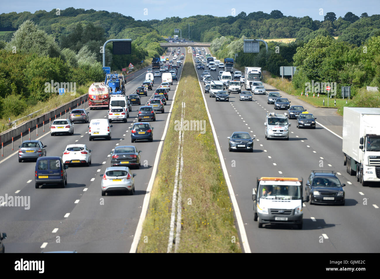 Traffic on the A23 near Gatwick airport - Stock Image
