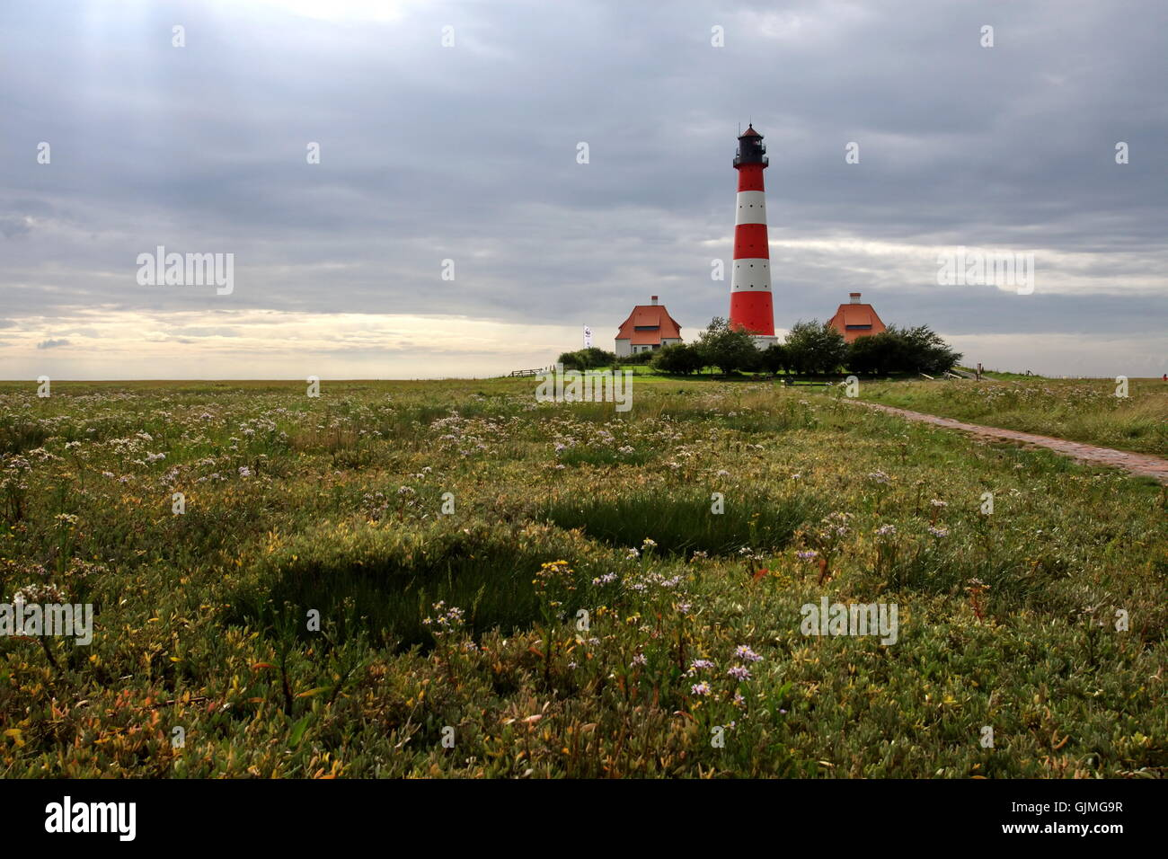 Northern Germany nordfriesland lighthouse - Stock Image