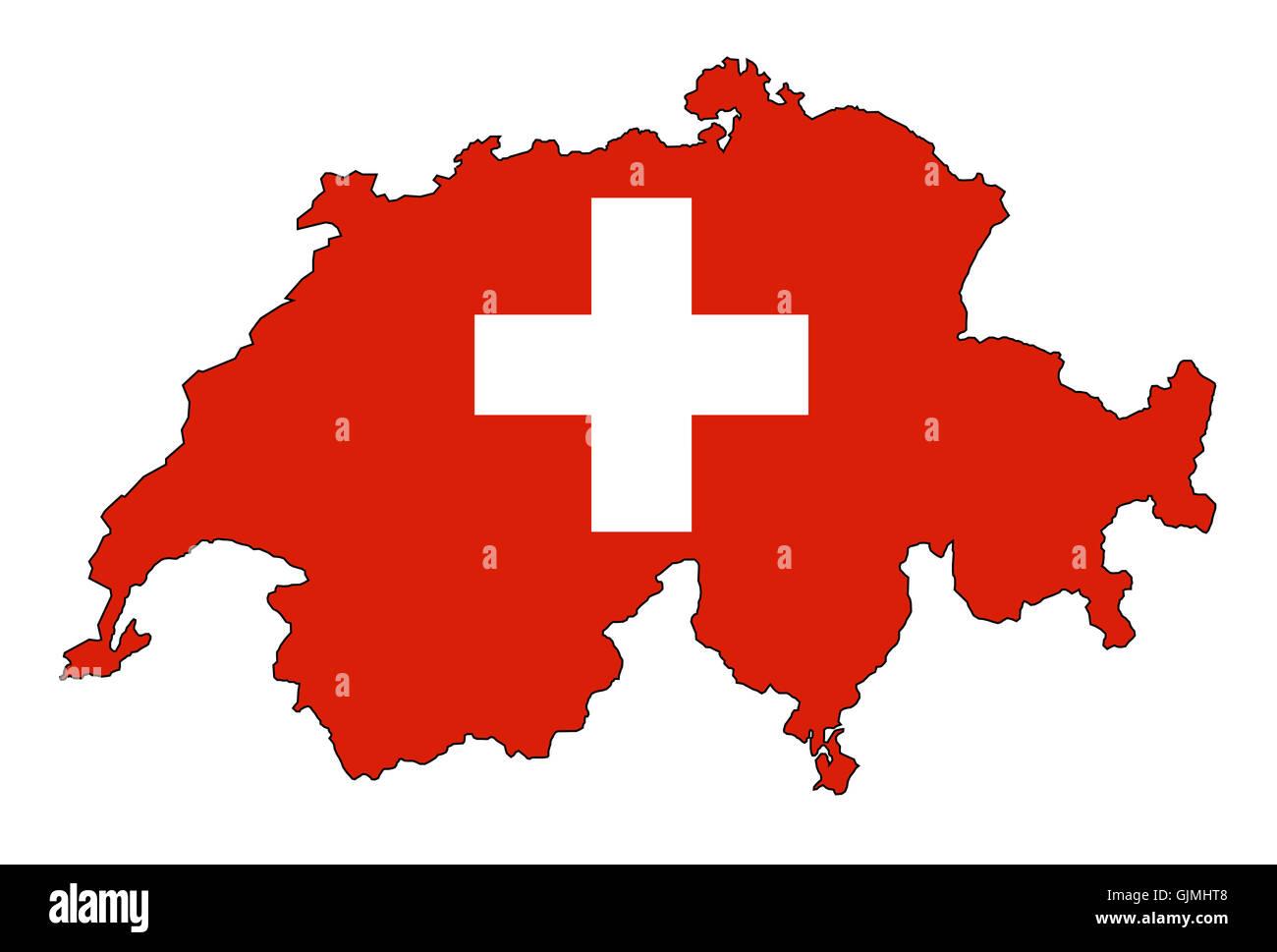 cross europe switzerland - Stock Image