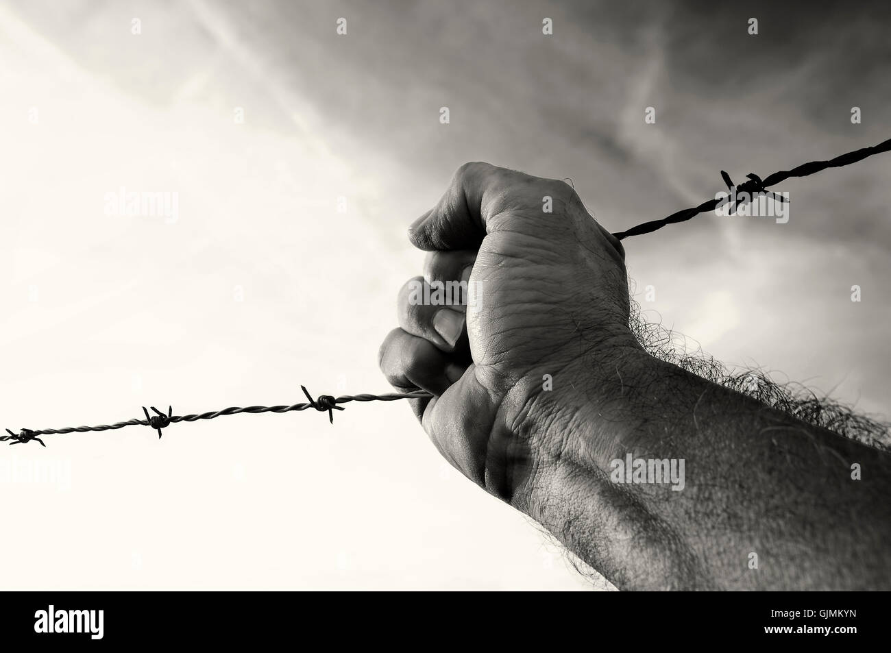 tearing fences Stock Photo