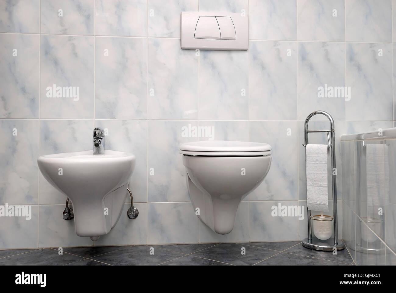 flow ceramic tiles toilet Stock Photo
