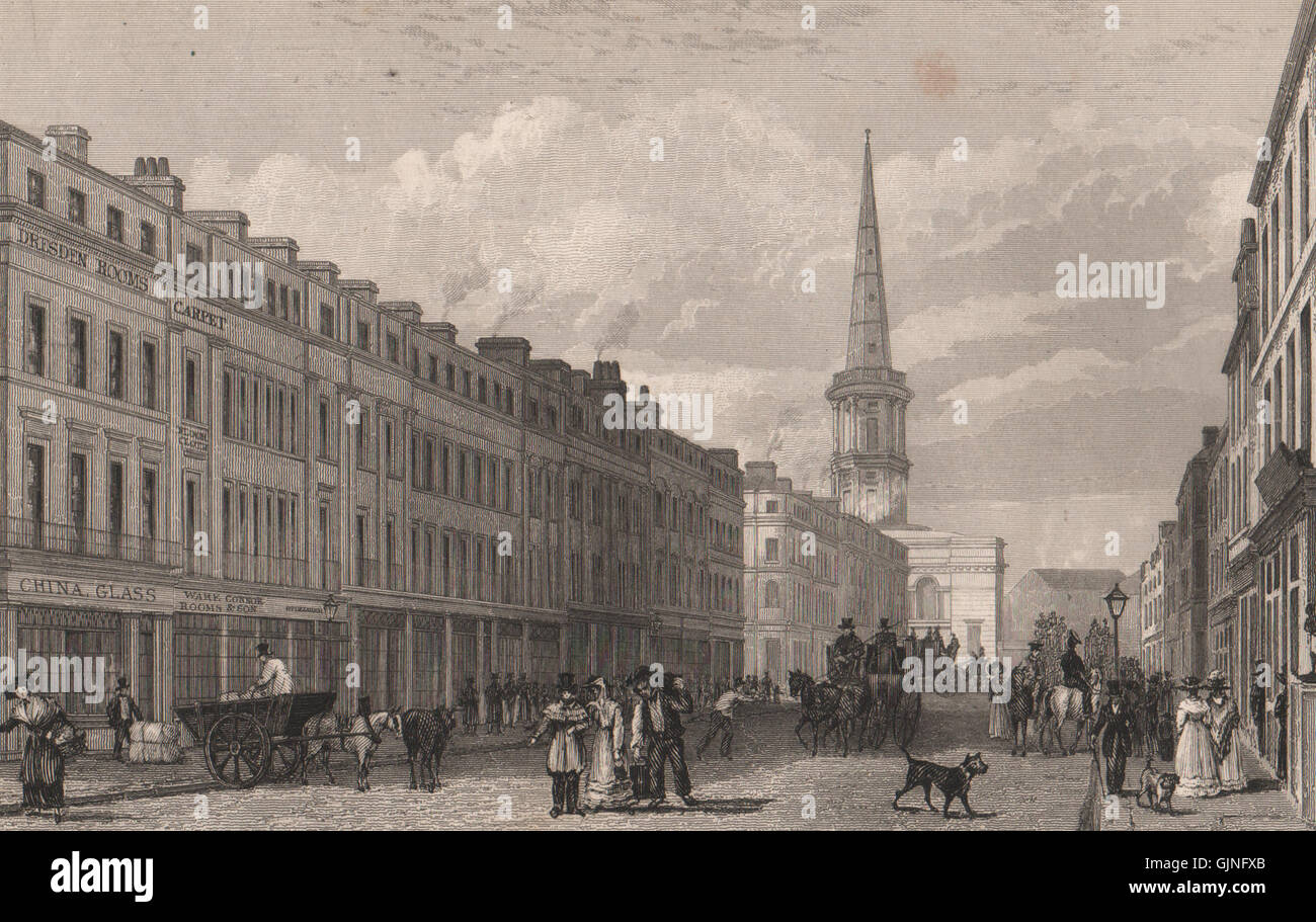Part of Lord Street. St. George's Church, Derby Square. Liverpool. HARWOOD, 1829 Stock Photo
