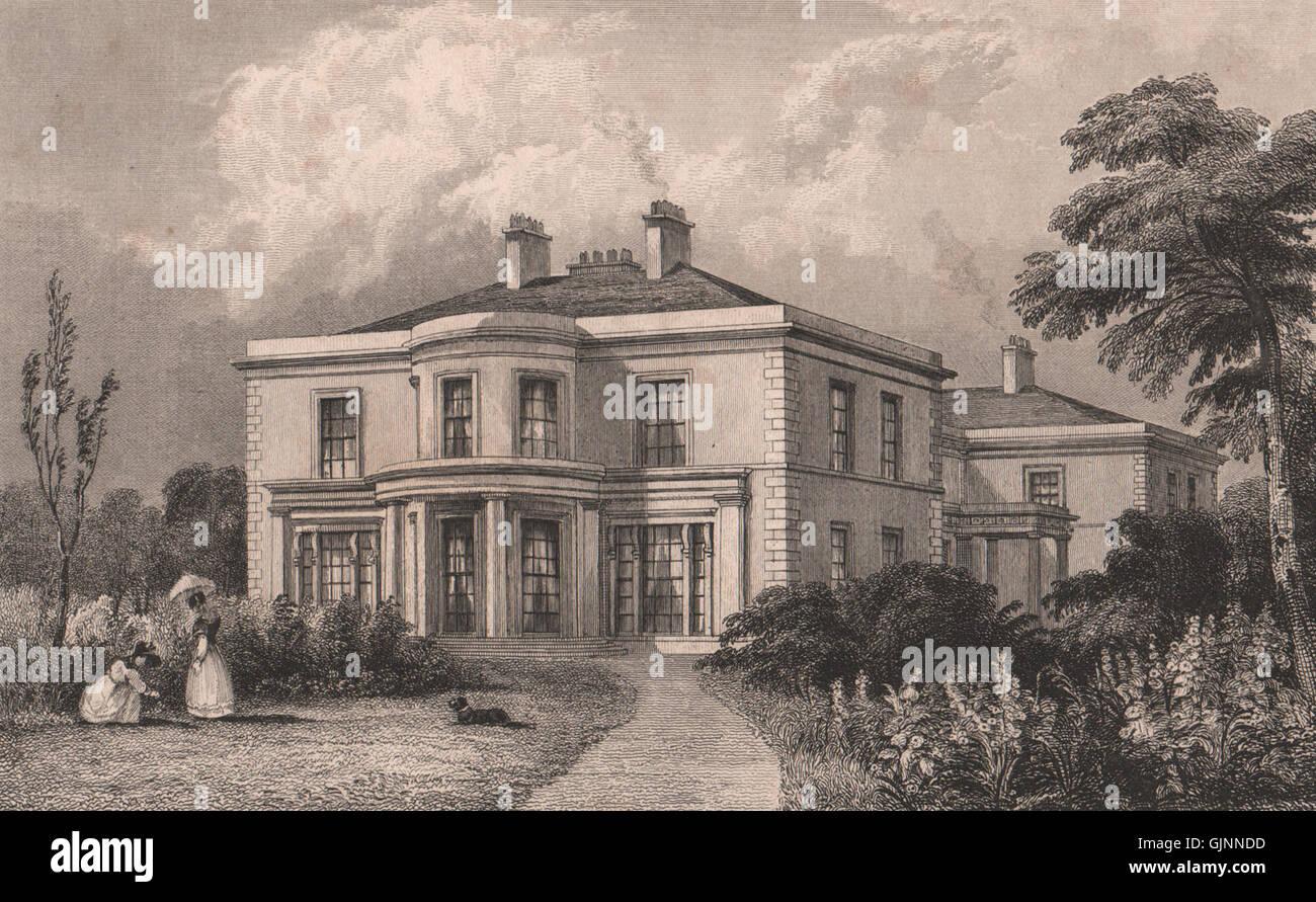 Hulton Hall, Lancashire. Demolished 1958. Manchester. HARWOOD, old print 1829 - Stock Image