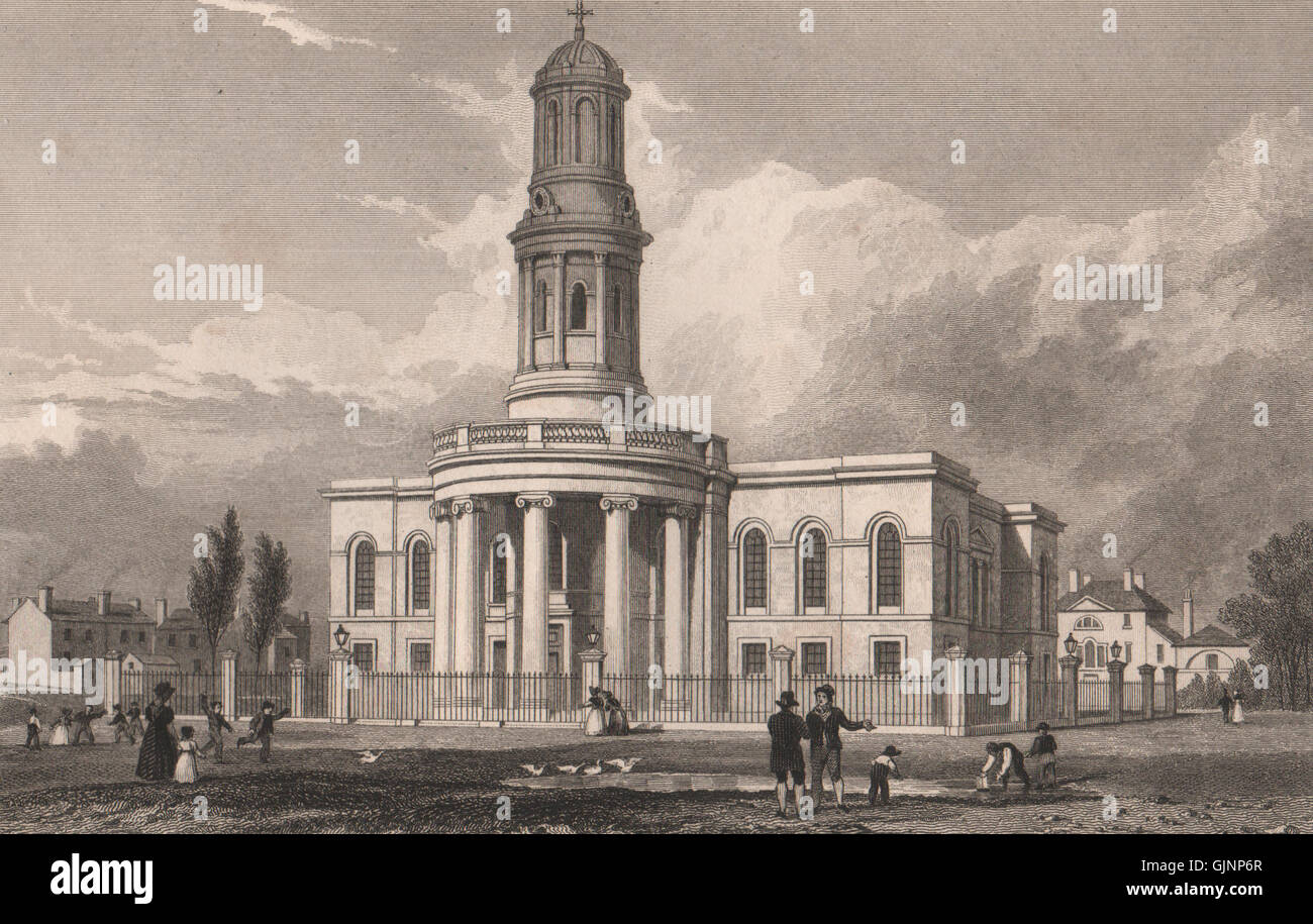St. Philip's Church, Wilton Place, Salford, Manchester. ALLOM, old print 1829 - Stock Image