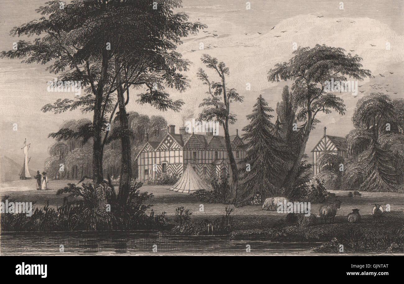 Irlam Hall, Manchester. HARWOOD, antique print 1829 - Stock Image