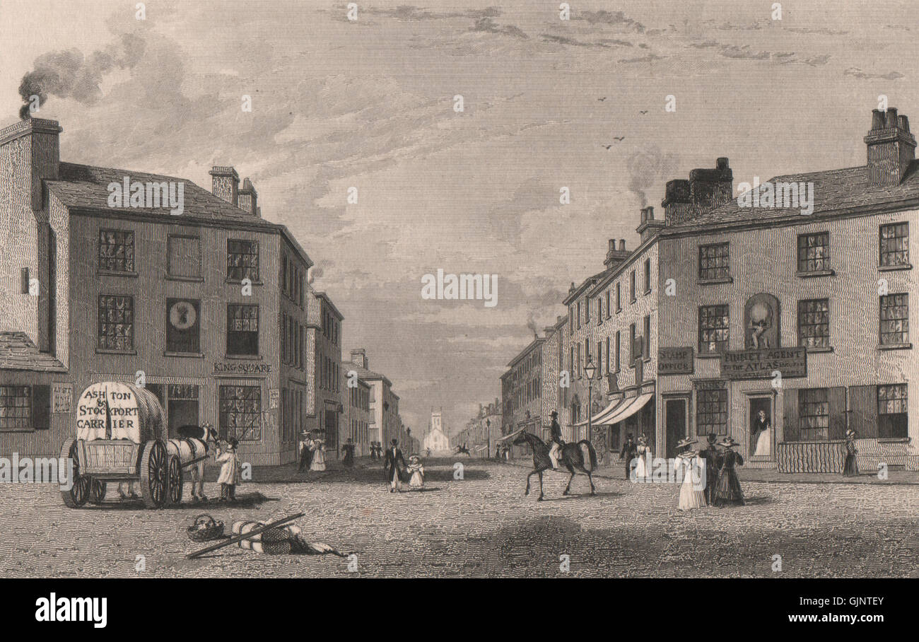Stamford Street & St Peter's church, Ashton-under-Lyne, Lancashire. HARWOOD 1829 - Stock Image