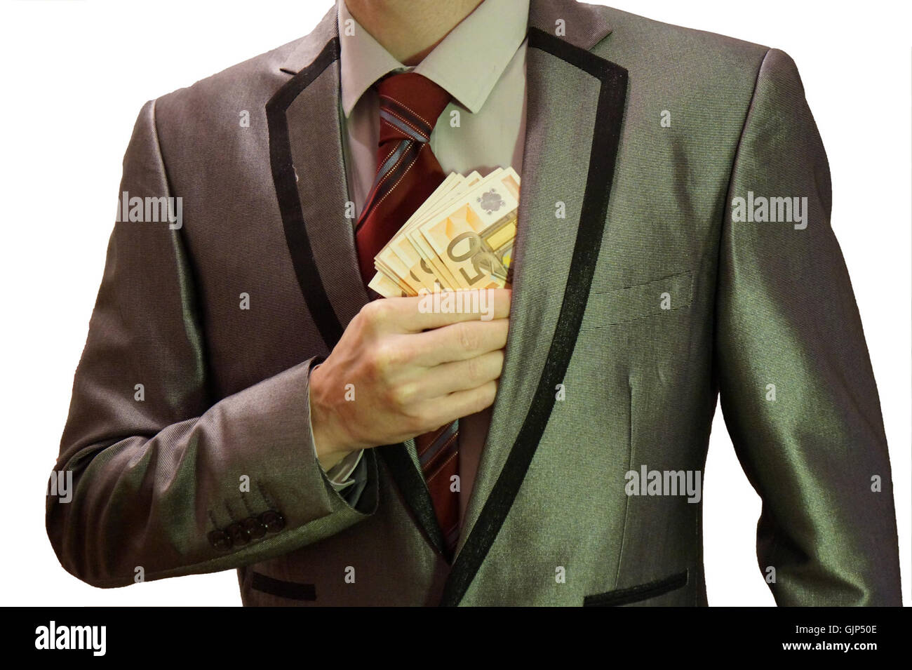 1   corruption   man in suit   white background   euro banknotes hidden into left jacket pocket   royalty free, - Stock Image