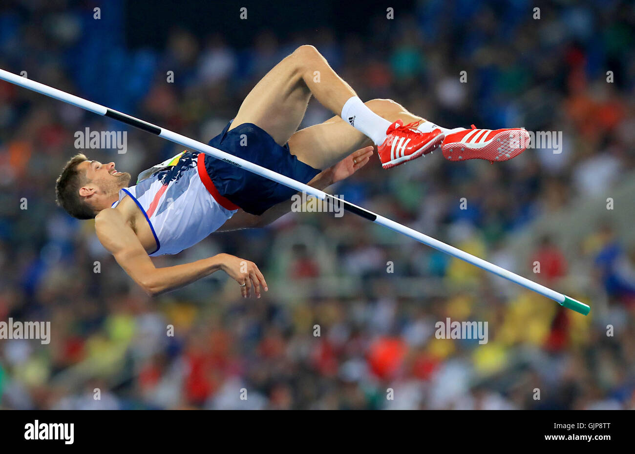 Great Britain's Robert Grabarz competes in the Mens High Jump Final at the Olympic Stadium on the eleventh day - Stock Image