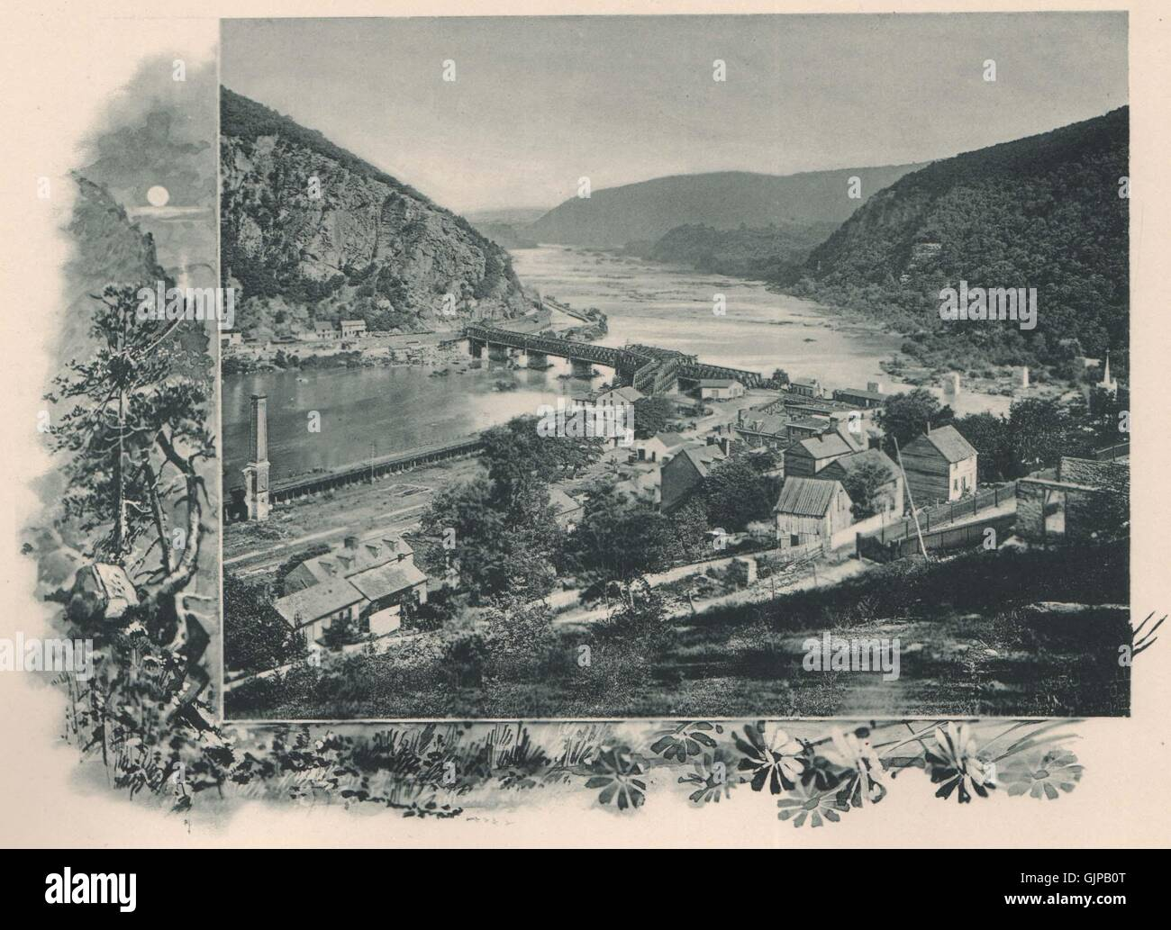Harper's Ferry, Maryland. Potomac, Baltimore & Ohio Railroad, West Virginia 1893 - Stock Image