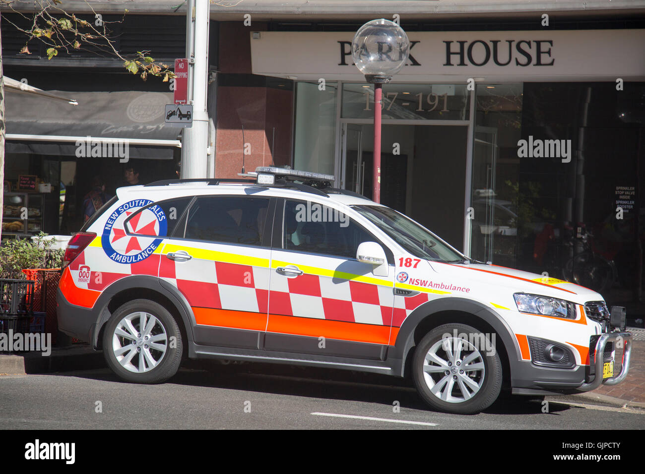 New South Wales paramedic ambulance vehicle parked in macquarie street,Sydney,Australia - Stock Image
