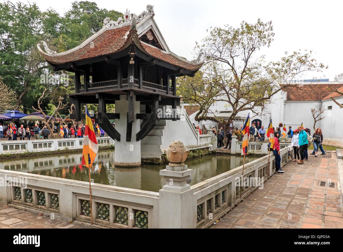 Hanoi, Vietnam - February 23, 2016: Tourists visiting the One Pillar Pagoda of Hanoi in Vietnam Stock Photo