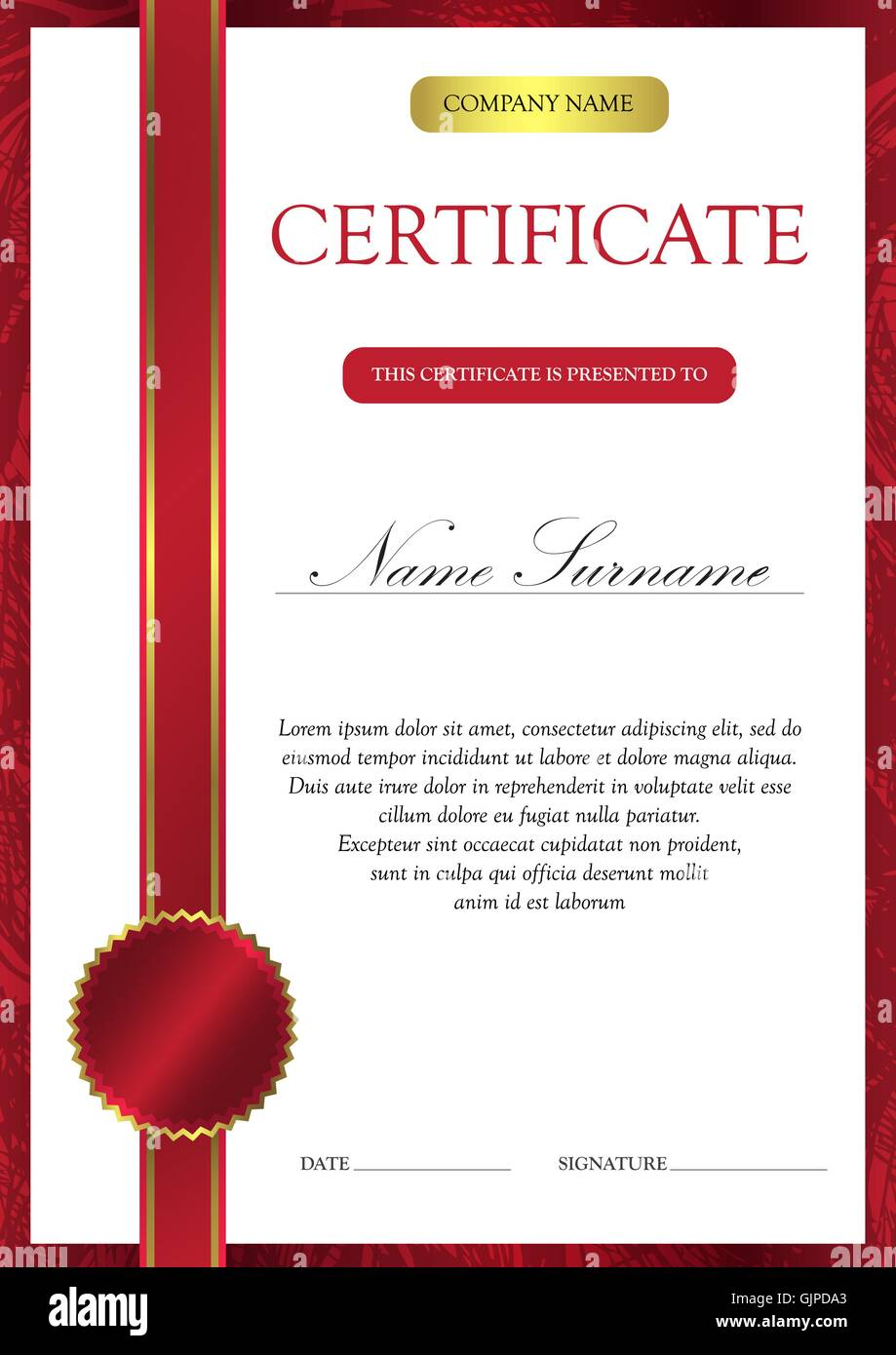 Diploma Template   Vertical Red Certificate And Diploma Template With Vintage Floral