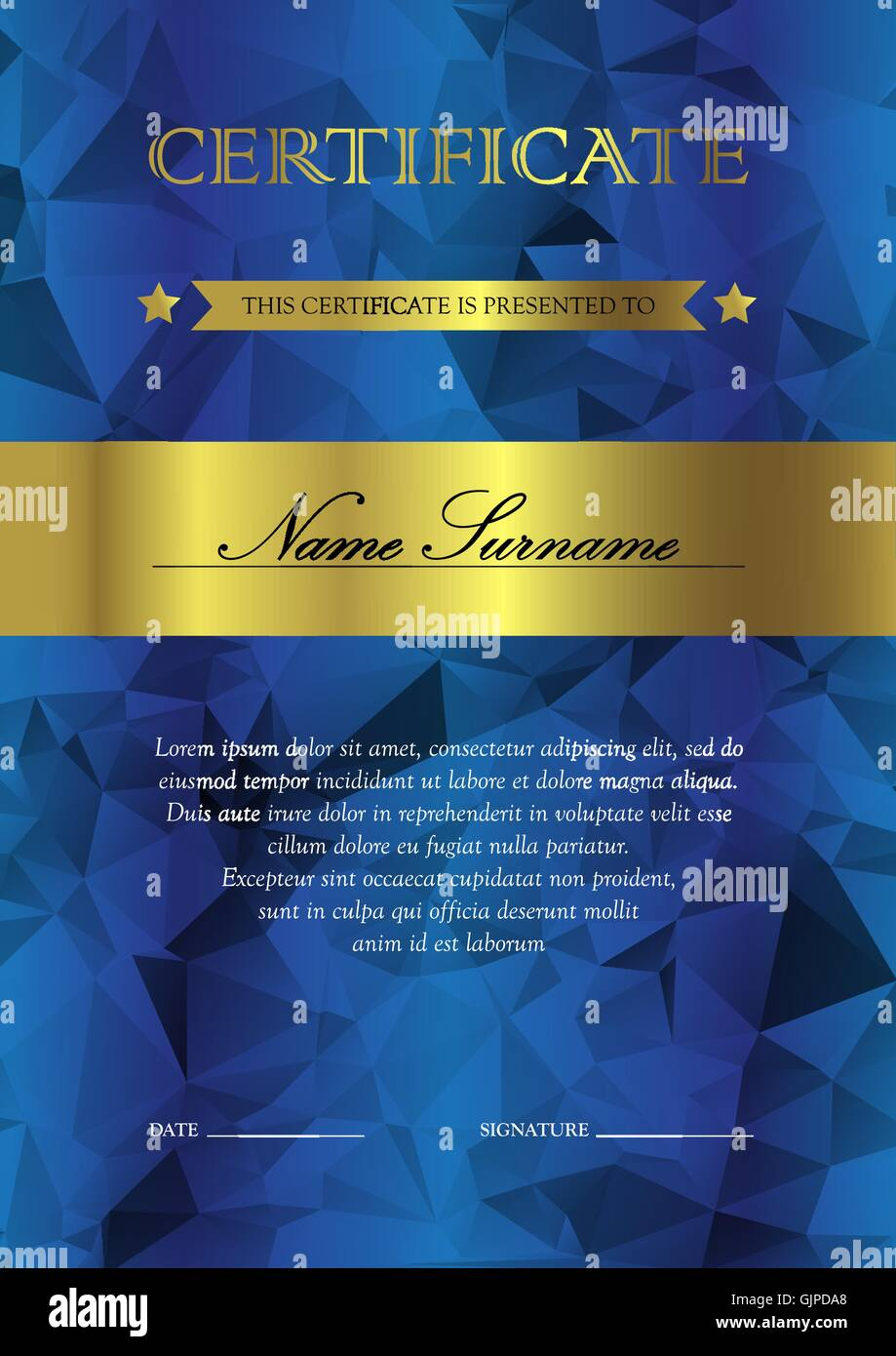 vertical blue and gold certificate and diploma template with stock