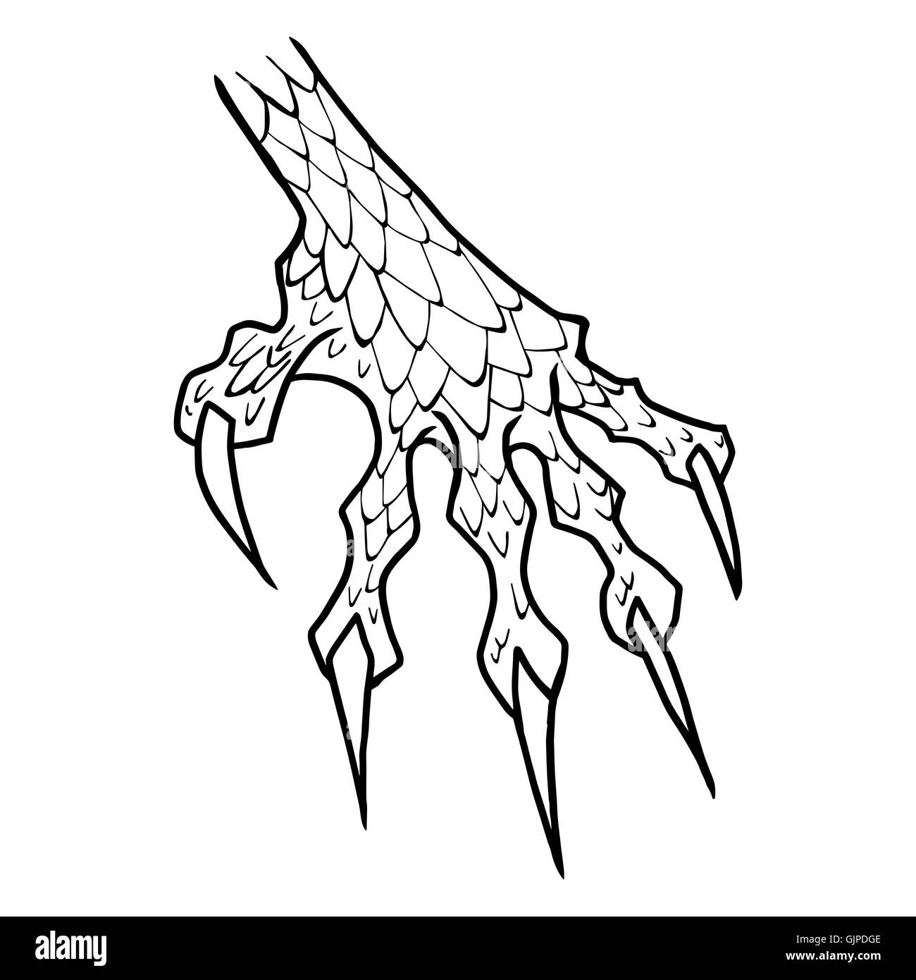 Dragon Or Monster Paw With Claws Wild Tattoo Horror Sticker Stock