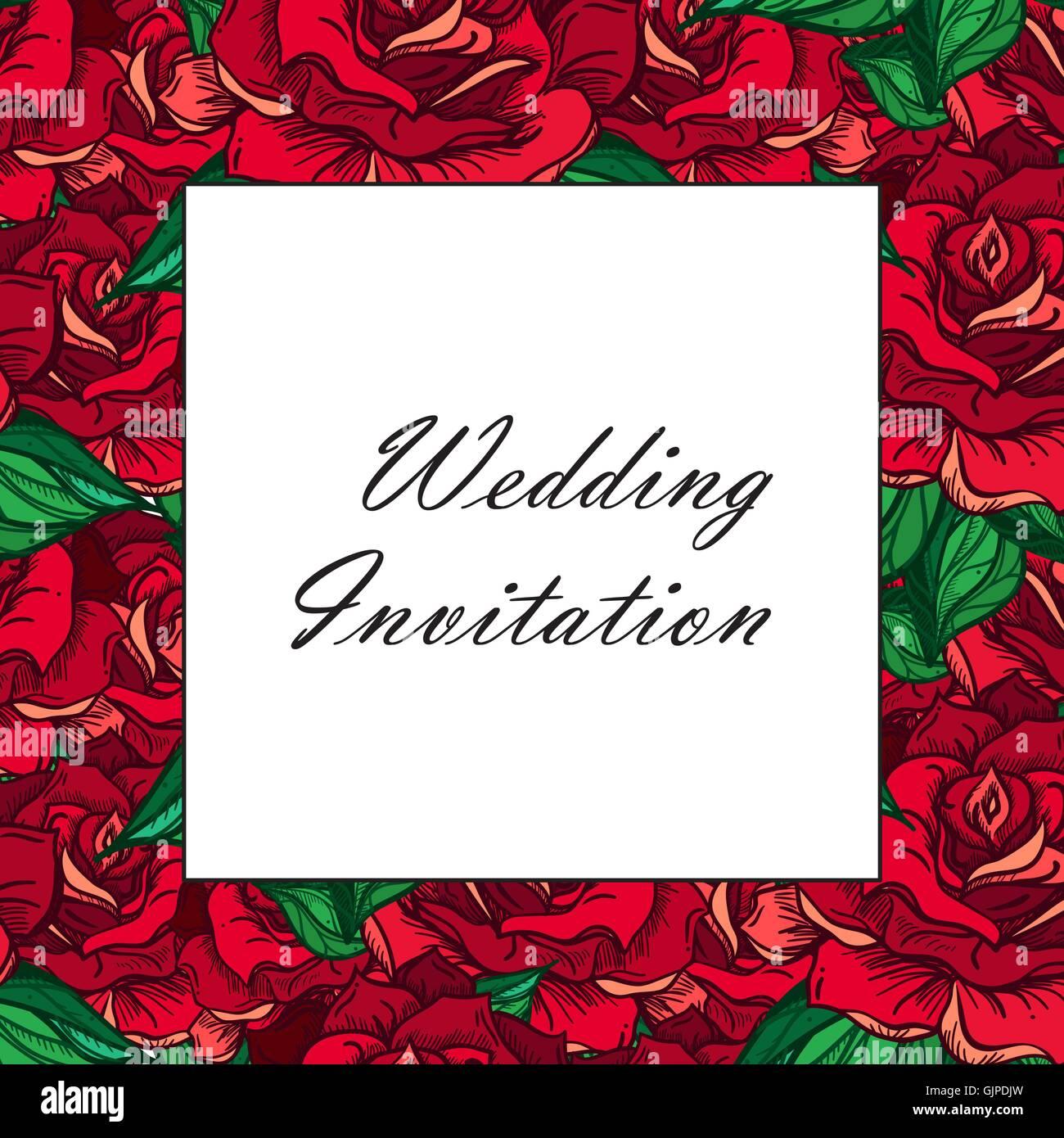 Hand Drawn Wedding Rose Frame. Flower Template for wedding, holiday ...
