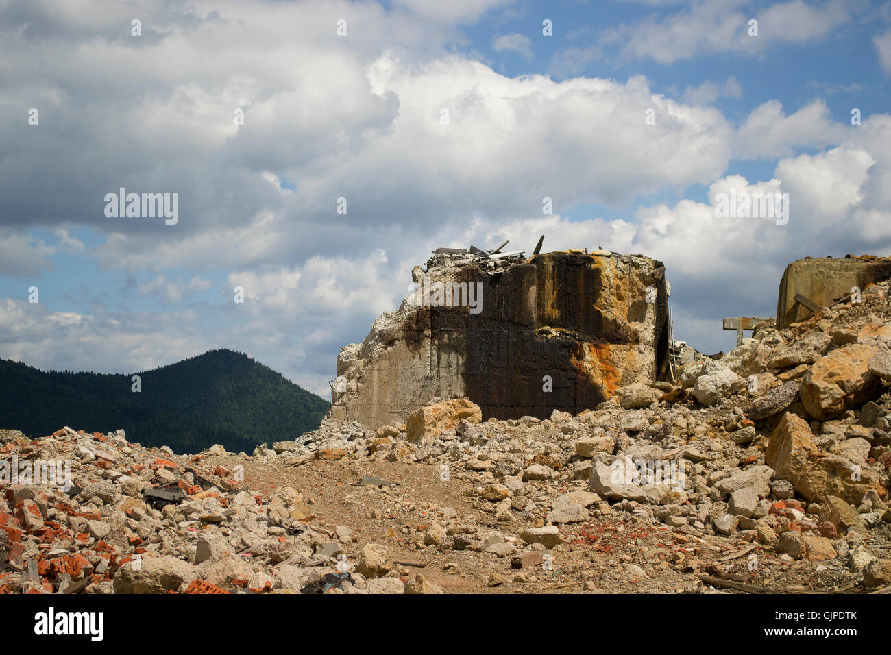 Abandoned mine site in the mountains of Romania - Stock Image