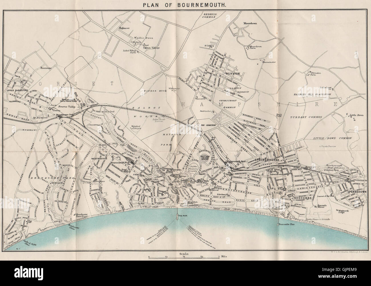 Baedeker 1927 Old Map Dorset Bournemouth Antique Town City Plan West Cliff