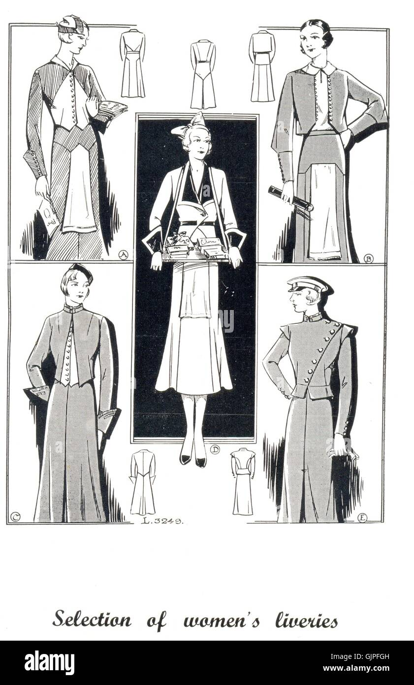 Selection of women's liveries from The Royal Catalogue of Livery Garments - Stock Image