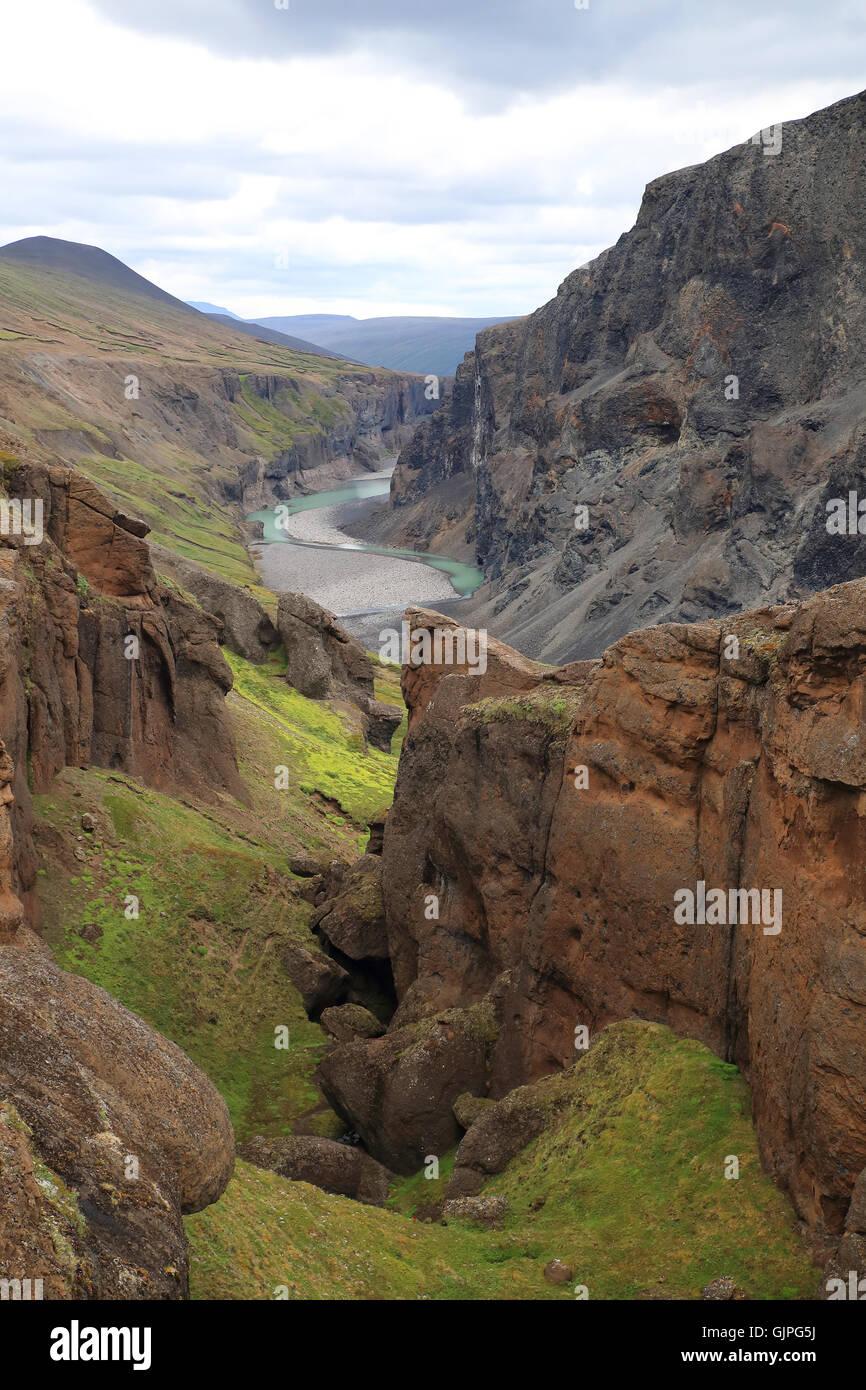 Canyon Hafrahvammagljufur  at Karahnjukar Iceland -Canyons in the highland mountains Iceland - Stock Image