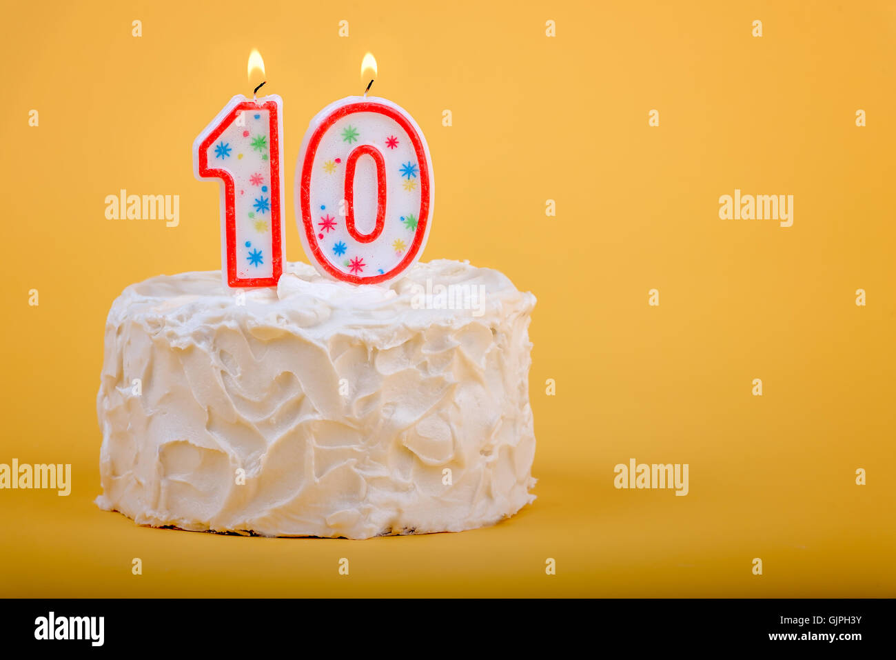 Miraculous 10 Candles On A Birthday Cake For Tenth Birthday Stock Photo Personalised Birthday Cards Cominlily Jamesorg