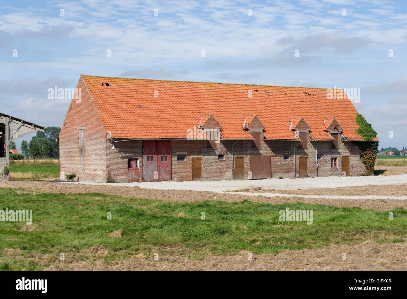 belgian cattle shed, original style - Stock Image