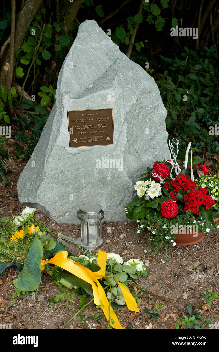 aircrash site memorial, nassheck, Dieblich, Germany - Stock Image