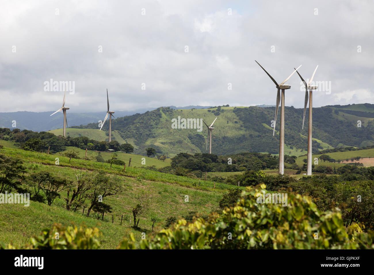 Windfarm with wind turbines, Alajuela province, Costa Rica, Central America - Stock Image