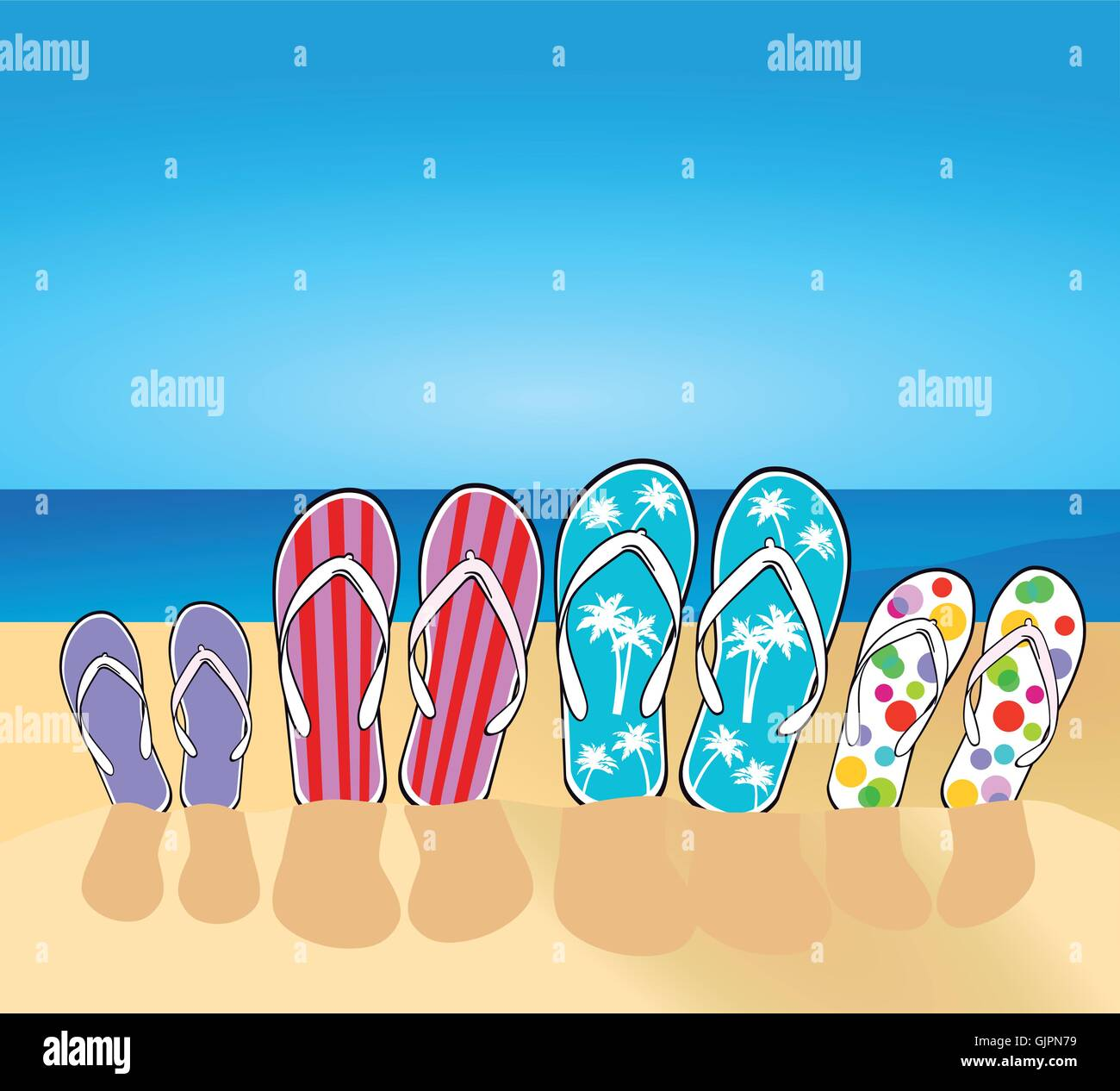 flip-flops on the beach - Stock Vector