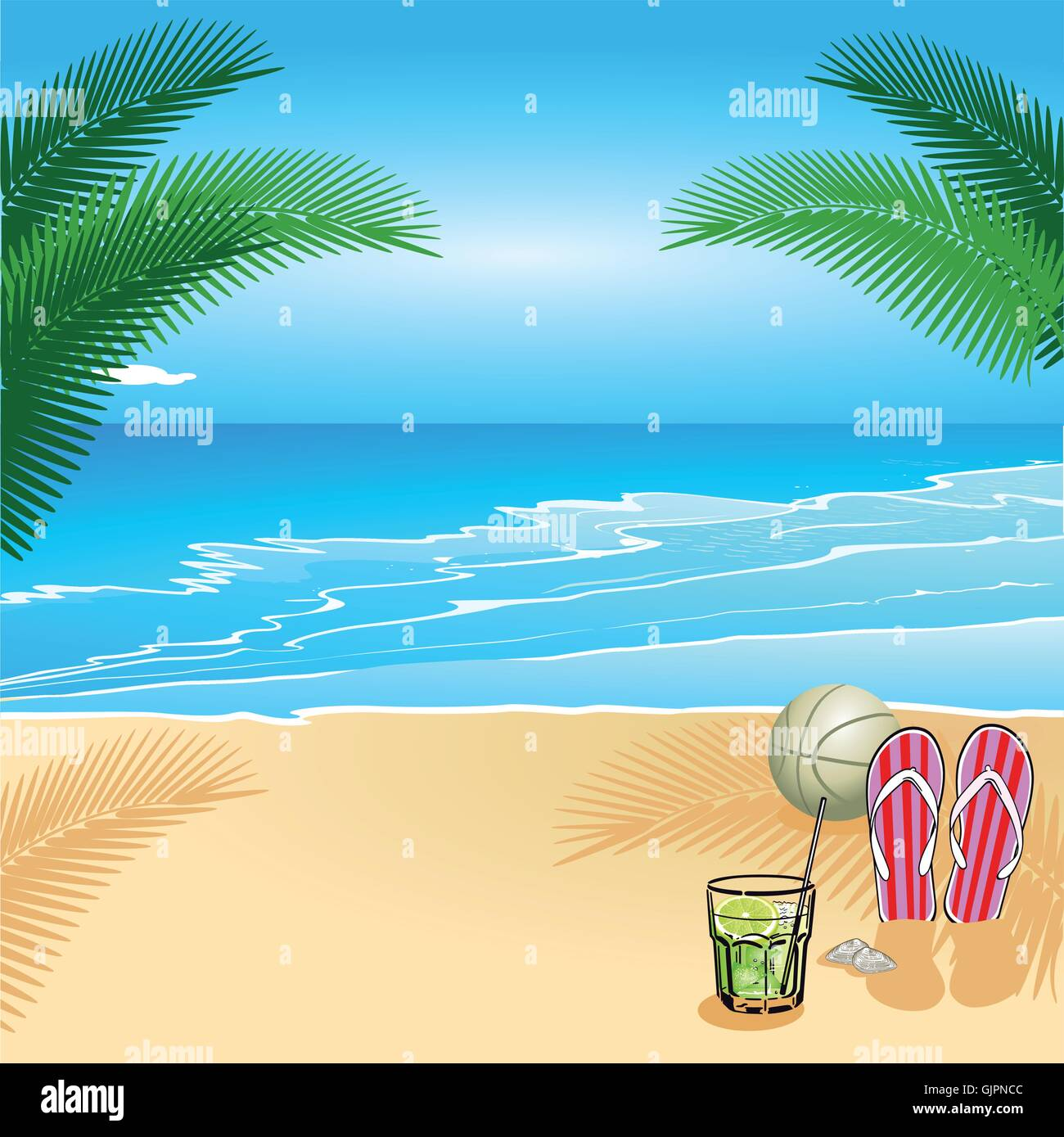 Relaxing at the beach - Stock Vector