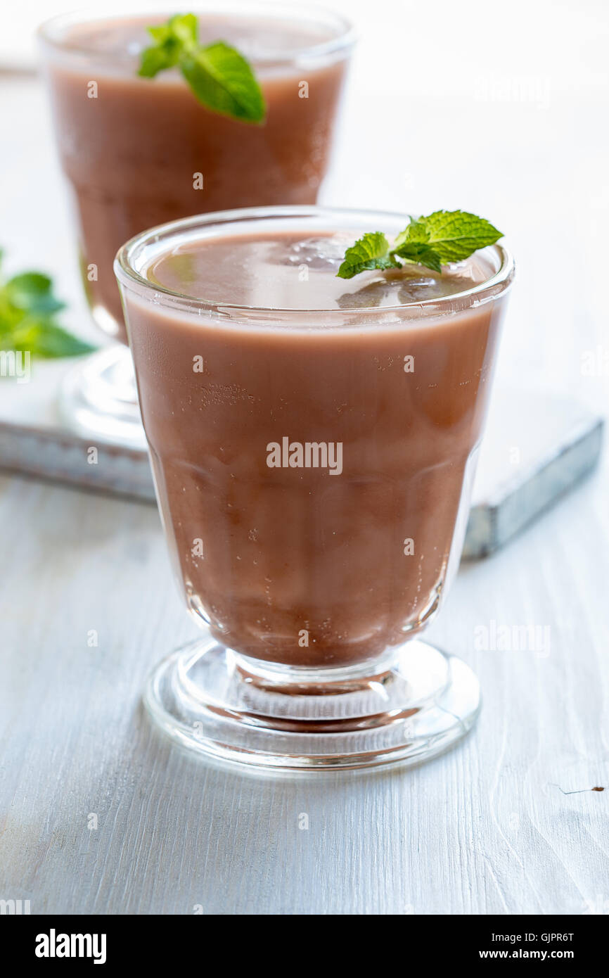 Homemade chocolate egg cream, beverage with milk, soda water and chocolate syrup - Stock Image