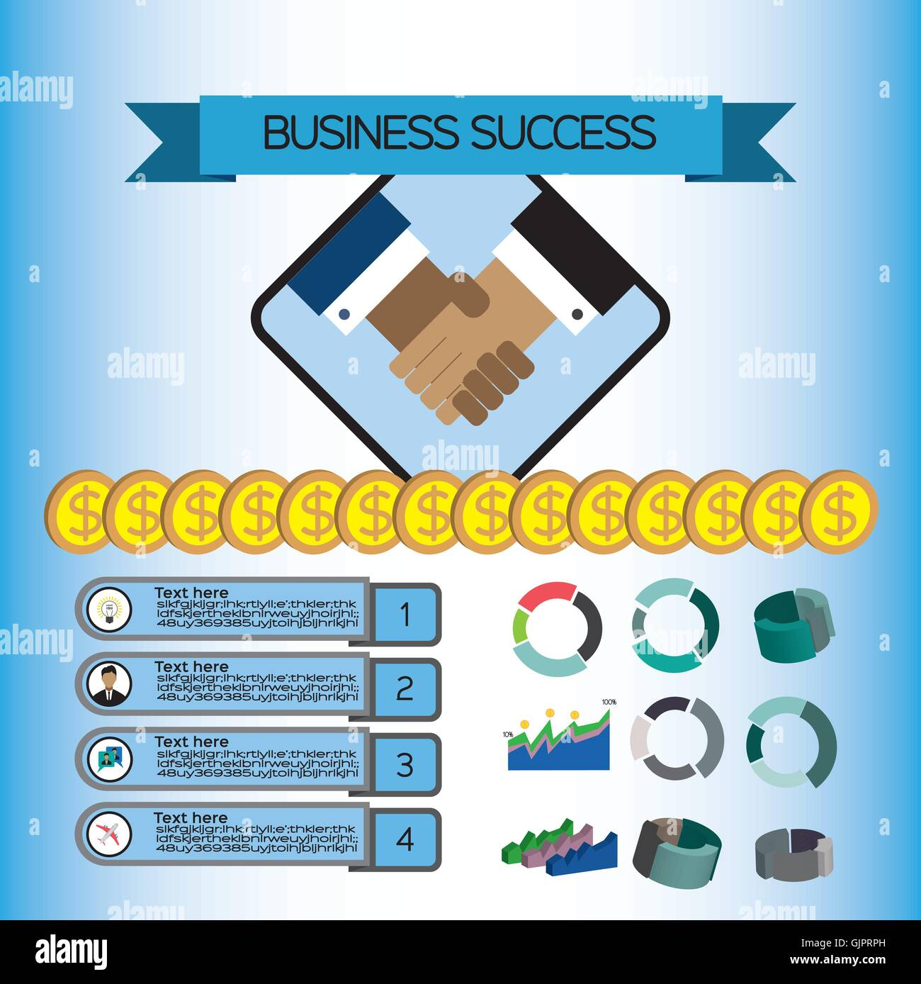 Business success infographic with icons shaking hands money and business success infographic with icons shaking hands money and charts flat design digital vector image ccuart Choice Image
