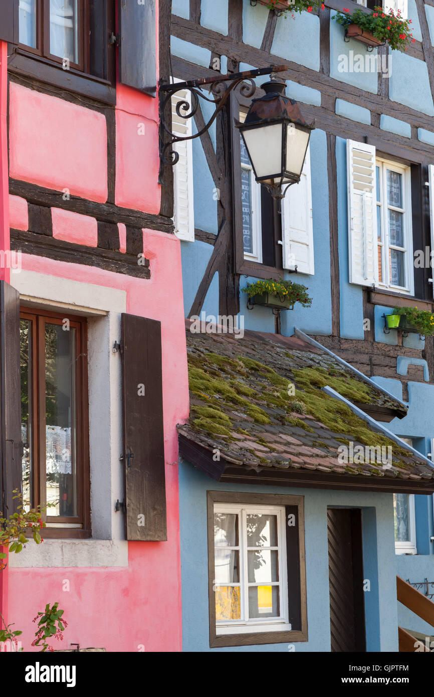 Frame Houses in Bergheim, Alsace, France Stock Photo